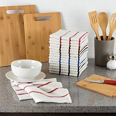 Hastings Home Cotton Dish Cloths, White with Colored Stripes 16-Pack