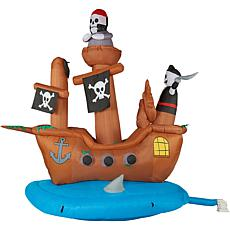 Haunted Hill Farm 10' Inflatable Pirate Ship with Lights