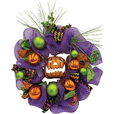 "Haunted Hill Farm 20"" Halloween Purple Pumpkin Ribbon Wreath"