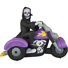 Haunted Hill Farm 8' Inflatable Skeleton on Motorcycle with Lights