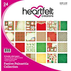 Heartfelt Creations 24-Pack Festive Poinsettia Paper Collection