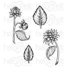 Heartfelt Creations Dahlia and Leaves Cling Stamp Set