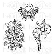 Heartfelt Creations Small Daffodil and Butterfly Cling Stamp Set