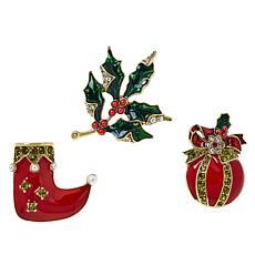 Heidi Daus 3-piece Christmas Pin Set
