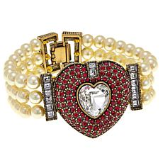 "Heidi Daus ""Be Mine"" 3-Strand Beaded 7"" Bracelet"