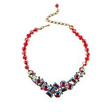 """Heidi Daus """"Captivating Chaos"""" 17"""" Siam Red AB Beaded Necklace"""