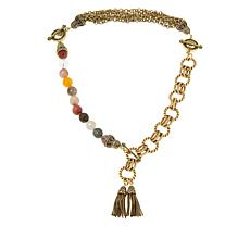 Heidi Daus Chain & Multi-Color Bead Convertible Necklace and Bracelet