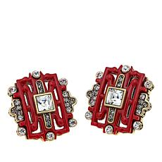 "Heidi Daus ""Chinoiserie Sparkle"" Carved Earrings"
