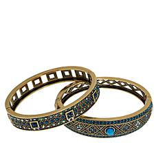 "Heidi Daus ""Daily Double"" Set of 2 Crystal Bangle Bracelets"