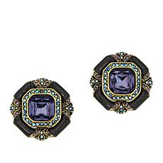 "Heidi Daus ""Day and Night"" Crystal and Enamel Earrings"