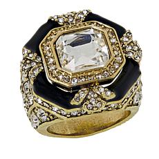 """Heidi Daus """"Day and Night"""" Crystal and Enamel Ring"""