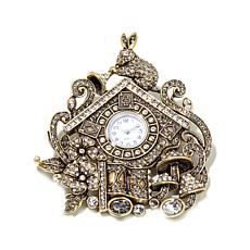 "Heidi Daus ""Don't Be Late"" Crystal Cuckoo Clock Pin"