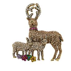 "Heidi Daus ""Fawn Family"" Crystal Pin"
