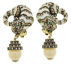 "Heidi Daus ""Feline Fabulous"" Crystal and Enamel Drop Earrings"