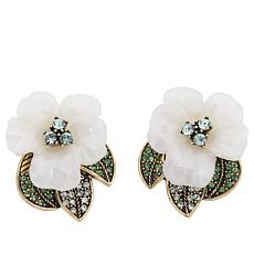 "Heidi Daus ""Glamorous Gardenia"" Resin and Crystal Earrings"