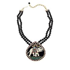 "Heidi Daus ""Happy Elephant"" Crystal and Enamel Drop Necklace"
