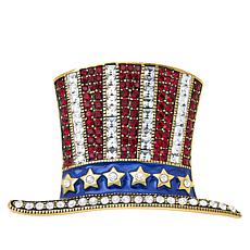 """Heidi Daus """"Hats Off to You"""" Enamel and Crystal Pin"""