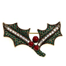 "Heidi Daus ""Holiday Sprig"" Crystal Holly Pin"