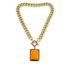 "Heidi Daus ""Hot Rocks"" Chain-Link Rectangular Drop Necklace"