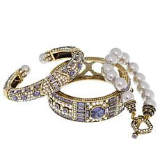 "Heidi Daus ""Lavish Layers"" 3-piece Crystal-Accented Bracelet Set"