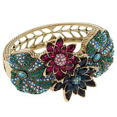 "Heidi Daus ""Leaping Lily Pads"" Crystal-Accented Bangle Bracelet"