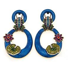 "Heidi Daus ""Leaping Luxury"" Crystal and Enamel Earrings"