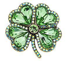 """Heidi Daus """"Lucky Day"""" Four Leaf Clover Crystal Pin"""