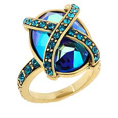 Heidi Daus Multi-Color Crystal X-Design Collar Ring