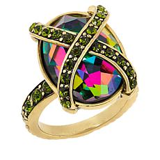 Heidi Daus Multi-Color Crystal X-Design Collar Ring