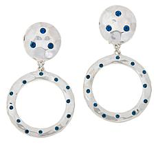 "Heidi Daus ""New Wave"" Silvertone Crystal-Accented Circle Drop Earrings"
