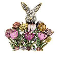 "Heidi Daus ""Peek-A-Boo Rabbit"" Crystal and Enamel Pin"