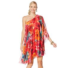 Heidi Daus Printed Chiffon One-Shoulder Overlay Dress