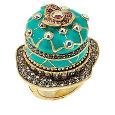 "Heidi Daus Quilted ""Petit Four"" Crystal and Enamel Ring"