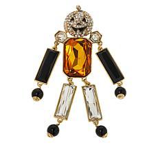 "Heidi Daus ""Robot Pumpkin"" Crystal Dangle Pin"