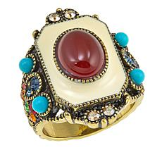 "Heidi Daus ""Stunningly Shelly"" Enamel and Crystal Ring"