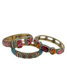 "Heidi Daus ""Triple Play"" Set of 3 Crystal Bangle Bracelets"
