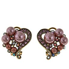 "Heidi Daus ""True Love"" Simulated Pearl and Crystal Earrings"