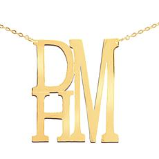 Heights Jewelers Gold-Plated Stacked Initial Monogram Necklace