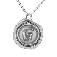 """Heights Jewelers Sterling Silver """"Wax Seal"""" Initial Pendant Necklace"""