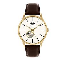 "Henry London ""Heritage Automatic"" Goldtone Brown Leather Strap Watch"