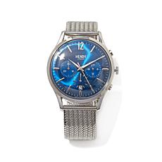Henry London Knightsbridge Blue Dial Mesh Strap Watch
