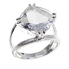 "Herkimer Mines 6.5ct ""Diamond"" Quartz Rose Top Sterling Silver  Ring"