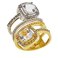 "Herkimer Mines ""Diamond"" Quartz and White Topaz Two-Tone Wrap Ring"