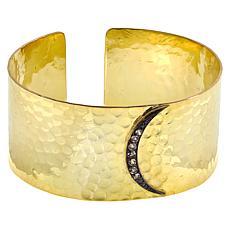 "Herkimer Mines ""Diamond"" Quartz Crescent Moon Hammered Cuff Bracelet"