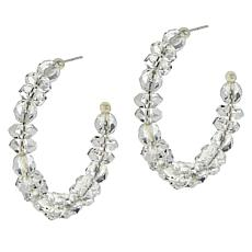 "Herkimer Mines ""Diamond"" Quartz Faceted Stone Hoop Earrings"