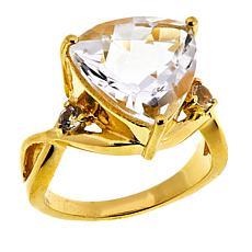 "Herkimer Mines ""Diamond"" Trilliant- and Round-Cut Quartz Ring"
