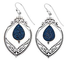 Himalayan Gems™ Blue Drusy Filigree Earrings