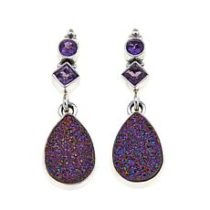 Himalayan Gems™ Purple Drusy and Amethyst Earrings