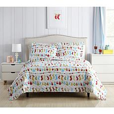 Holiday Printed 3-piece Reversible Full/Queen Quilt Set