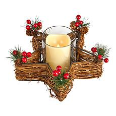 Holiday Star Twig Candle Holder with LED Candle